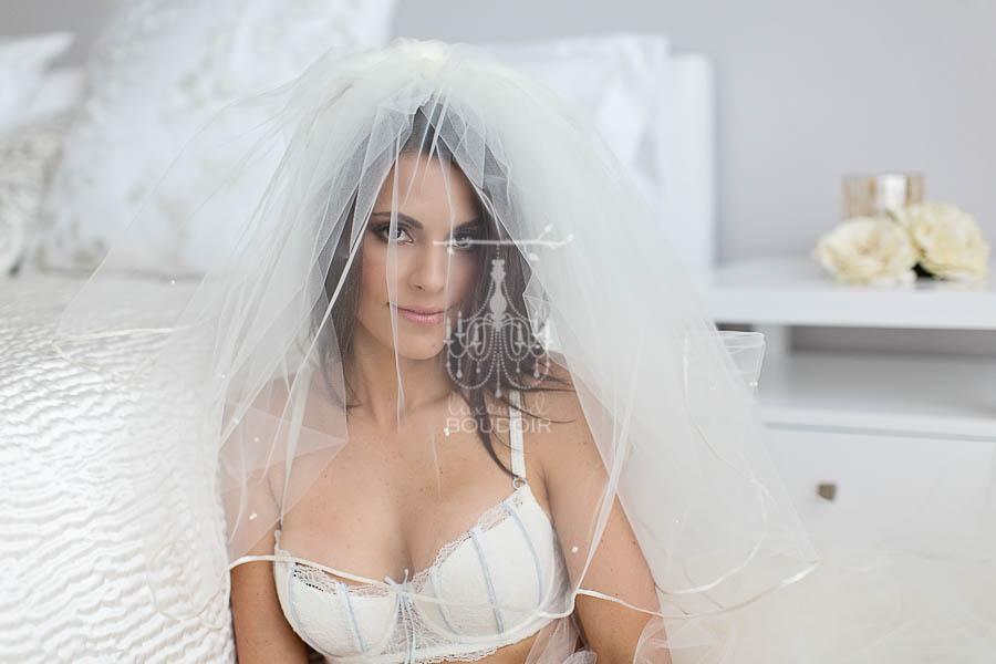 bridal boudoir veil portrait