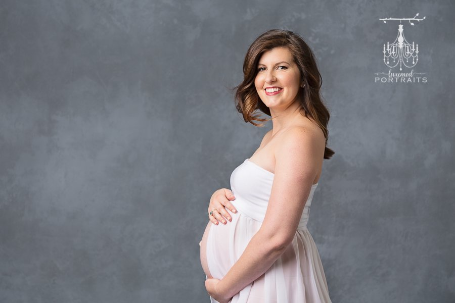 tulsa maternity session portrait in white gown