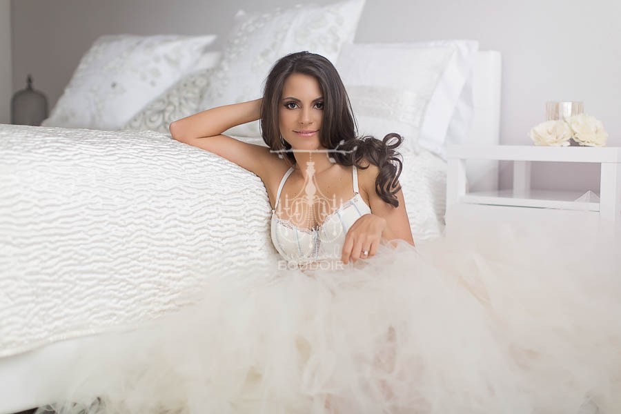 bridal boudoir in tulle and lingerie portrait