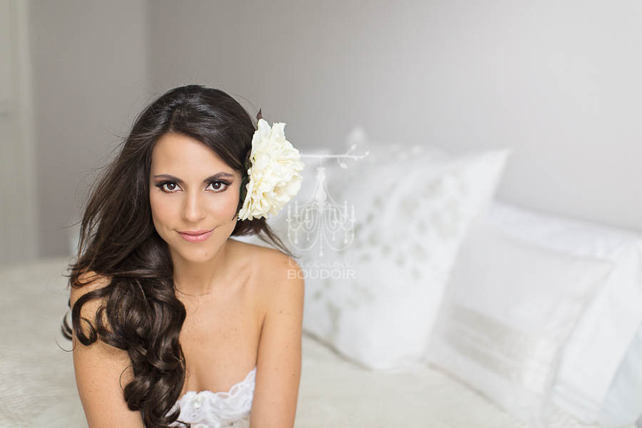 bridal boudoir portrait in white tulle skirt and vintage bustier