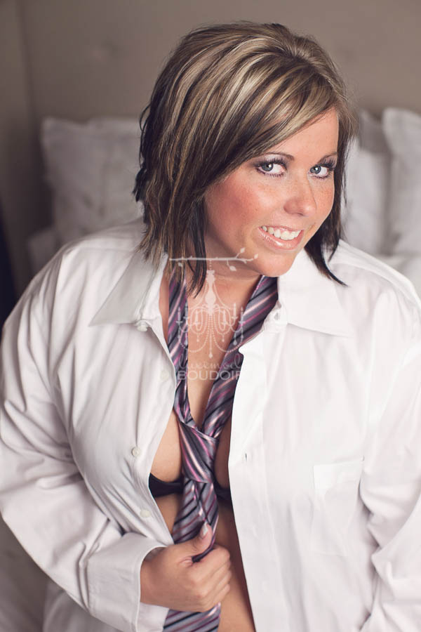 plus size woman in white shirt and tie
